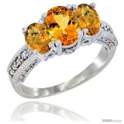 14k White Gold Ladies Oval Natural Citrine 3-Stone Ring with Whisky Quartz Sides Diamond Accent