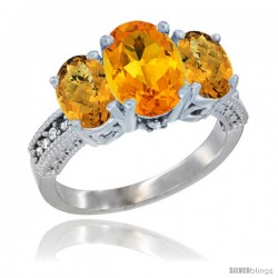 14K White Gold Ladies 3-Stone Oval Natural Citrine Ring with Whisky Quartz Sides Diamond Accent