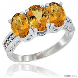14K White Gold Natural Citrine Ring with Whisky Quartz 3-Stone 7x5 mm Oval Diamond Accent