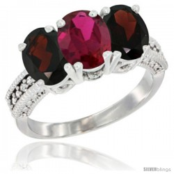 14K White Gold Natural Ruby & Garnet Sides Ring 3-Stone 7x5 mm Oval Diamond Accent