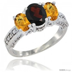 14k White Gold Ladies Oval Natural Garnet 3-Stone Ring with Whisky Quartz Sides Diamond Accent