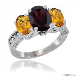 14K White Gold Ladies 3-Stone Oval Natural Garnet Ring with Whisky Quartz Sides Diamond Accent