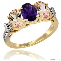 10K Yellow Gold Natural Amethyst & Morganite Sides Ring 3-Stone Oval 7x5 mm Diamond Accent