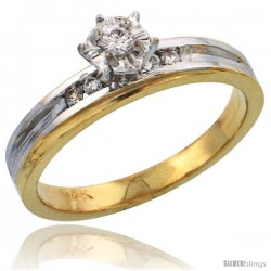 14k Gold Diamond Engagement Ring w/ Rhodium Accent, w/ 0.12 Carat Brilliant Cut Diamonds, 1/8 in. (3.5mm) wide