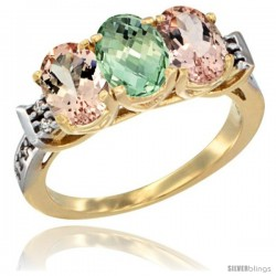 10K Yellow Gold Natural Green Amethyst & Morganite Sides Ring 3-Stone Oval 7x5 mm Diamond Accent