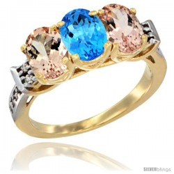 10K Yellow Gold Natural Swiss Blue Topaz & Morganite Sides Ring 3-Stone Oval 7x5 mm Diamond Accent