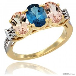 10K Yellow Gold Natural London Blue Topaz & Morganite Sides Ring 3-Stone Oval 7x5 mm Diamond Accent