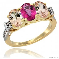 10K Yellow Gold Natural Pink Topaz & Morganite Sides Ring 3-Stone Oval 7x5 mm Diamond Accent