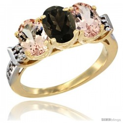10K Yellow Gold Natural Smoky Topaz & Morganite Sides Ring 3-Stone Oval 7x5 mm Diamond Accent