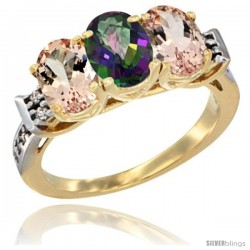 10K Yellow Gold Natural Mystic Topaz & Morganite Sides Ring 3-Stone Oval 7x5 mm Diamond Accent