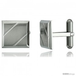 Stainless Steel Square Cufflinks with 2 Grooves 5/8 x 5/8 in