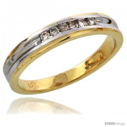 14k Gold Ladies' Diamond Band w/ Rhodium Accent, w/ 0.09 Carat Brilliant Cut Diamonds, 1/8 in. (3.5mm) wide