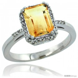 10k White Gold Diamond Citrine Ring 1.6 ct Emerald Shape 8x6 mm, 1/2 in wide -Style Cw909129