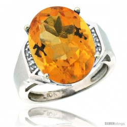10k White Gold Diamond Citrine Ring 9.7 ct Large Oval Stone 16x12 mm, 5/8 in wide