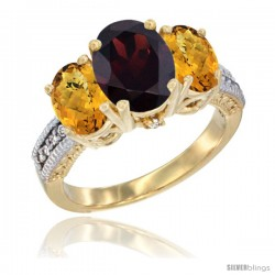 14K Yellow Gold Ladies 3-Stone Oval Natural Garnet Ring with Whisky Quartz Sides Diamond Accent