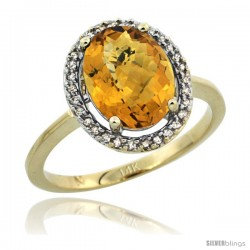 14k Yellow Gold Diamond Halo whisky Quartz Ring 2.4 carat Oval shape 10X8 mm, 1/2 in (12.5mm) wide