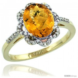 14k Yellow Gold Diamond Halo whisky Quartz Ring 1.65 Carat Oval Shape 9X7 mm, 7/16 in (11mm) wide