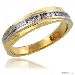 14k Gold Men's Diamond Band w/ Rhodium Accent, w/ 0.09 Carat Brilliant Cut Diamonds, 3/16 in. (5mm) wide