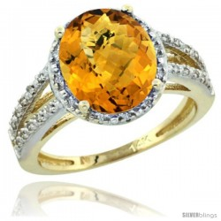 14k Yellow Gold Diamond Halo whisky Quartz Ring 2.85 Carat Oval Shape 11X9 mm, 7/16 in (11mm) wide