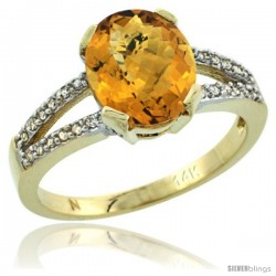 14k Yellow Gold and Diamond Halo whisky Quartz Ring 2.4 carat Oval shape 10X8 mm, 3/8 in (10mm) wide