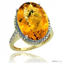 14k Yellow Gold Diamond Whisky Quartz Ring 13.56 ct Large Oval 18x13 mm Stone, 3/4 in wide
