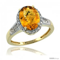 14k Yellow Gold Diamond Whisky Quartz Ring 2.4 ct Oval Stone 10x8 mm, 1/2 in wide
