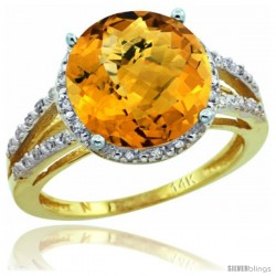 14k Yellow Gold Diamond Whisky Quartz Ring 5.25 ct Round Shape 11 mm, 1/2 in wide