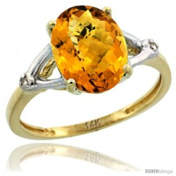 14k Yellow Gold Diamond Whisky Quartz Ring 2.4 ct Oval Stone 10x8 mm, 3/8 in wide