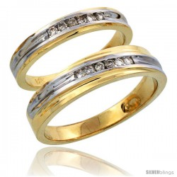 14k Gold 2-Piece His (5mm) & Hers (3.5mm) Diamond Wedding Band Set w/ Rhodium Accent, w/ 0.18 Carat Brilliant Cut Diamonds