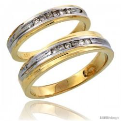 14k Gold 2-Piece His (5mm) & Hers (3.5mm) Diamond Wedding Band Set w/ Rhodium Accent, w/ 0.18 Carat Brilliant Cut Diamonds