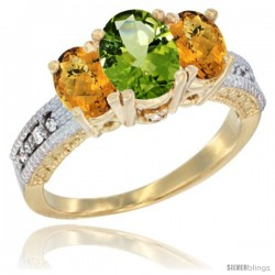 14k Yellow Gold Ladies Oval Natural Peridot 3-Stone Ring with Whisky Quartz Sides Diamond Accent