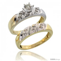 10k Yellow Gold Ladies' 2-Piece Diamond Engagement Wedding Ring Set, 3/16 in wide -Style Ljy116e2