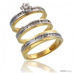 14k Gold 3-Piece Trio His (5mm) & Hers (3.5mm) Diamond Wedding Band Set w/ Rhodium Accent, w/ 0.30 Carat Brilliant Cut Diamonds