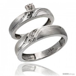 Sterling Silver 2-Pc Diamond Ring Set (4mm Engagement Ring & 5mm Man's Wedding Band), w/ 0.049 Carat Brilliant Cut Diamonds