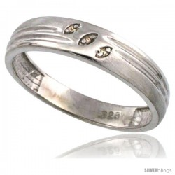 Sterling Silver Men's Diamond Wedding Ring Band, w/ 0.026 Carat Brilliant Cut Diamonds, 3/16 in. (5mm) wide -Style Ag153mb