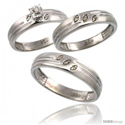 Sterling Silver 3-Pc. Trio His (5mm) & Hers (4.5mm) Diamond Wedding Ring Band Set, w/ 0.075 Carat Brilliant Cut Diamonds