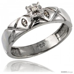 Sterling Silver Diamond Engagement Ring w/ 0.03 Carat Brilliant Cut Diamonds, 5/32 in. (4.5mm) wide -Style Ag154er