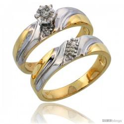 14k Gold 2-Piece Diamond Engagement Ring Set w/ Rhodium Accent, w/ 0.16 Carat Brilliant Cut Diamonds, 3/16 in. (5mm) wide