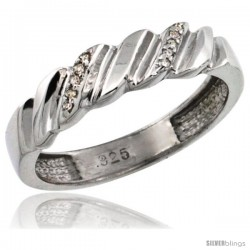 Sterling Silver Ladies' Diamond Wedding Ring Band, w/ 0.063 Carat Brilliant Cut Diamonds, 5/32 in. (5mm) wide