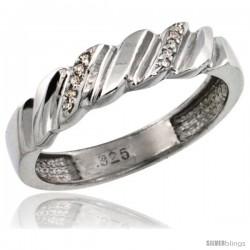 Sterling Silver Ladies' Diamond Wedding Ring Band, w/ 0.063 Carat Brilliant Cut Diamonds, 5/32 in. (5mm) wide