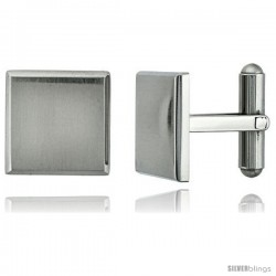 Stainless Steel Plain Square Cufflinks with Beveled Edges Satin Finished 5/8 x 5/8 in