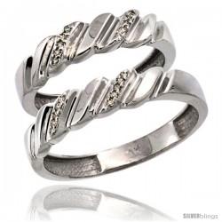 14k White Gold 2-Pc His (5mm) & Hers (5mm) Diamond Wedding Ring Band Set w/ 0.126 Carat Brilliant Cut Diamonds