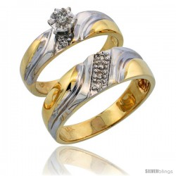 14k Gold 2-Piece Diamond Ring Set w/ Rhodium Accent ( Engagement Ring & Man's Wedding Band ), w/ 0.18 Carat Brilliant Cut