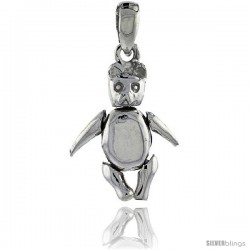 Sterling Silver High Polished Small Movable Teddy Bear Pendant