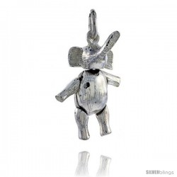 Sterling Silver High Polished Movable Elephant Pendant