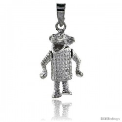 Sterling Silver High Polished Movable Alligator Pendant