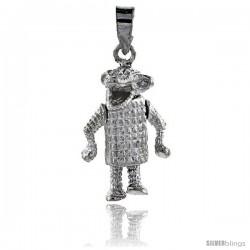 Sterling Silver High Polished Movable Alligator Pendant