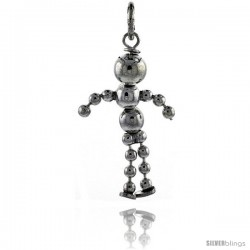 Sterling Silver High Polished Movable Beaded Boy Pendant