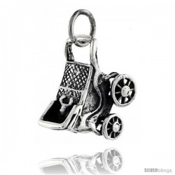 Sterling Silver High Polished Movable Baby Stroller Pendant