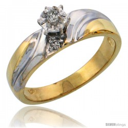 14k Gold Diamond Engagement Ring w/ Rhodium Accent, w/ 0.10 Carat Brilliant Cut Diamonds, 3/16 in. (5mm) wide